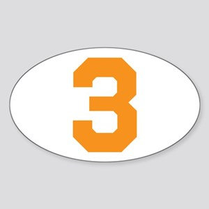 3 ORANGE # THREE Sticker (Oval)