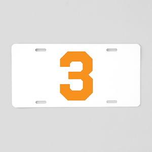 3 ORANGE # THREE Aluminum License Plate
