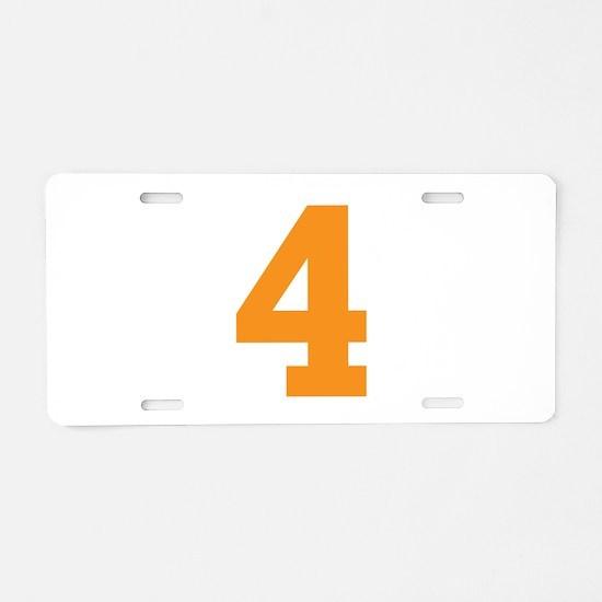 4 ORANGE # FOUR Aluminum License Plate