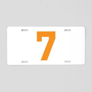 7 ORANGE # SEVEN Aluminum License Plate