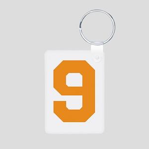 9 ORANGE # NINE Aluminum Photo Keychain
