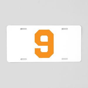 9 ORANGE # NINE Aluminum License Plate