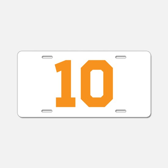 10 ORANGE # TEN Aluminum License Plate
