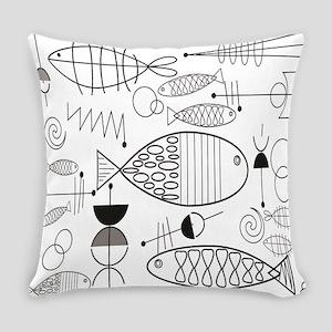 Mid-Century Fish Everyday Pillow