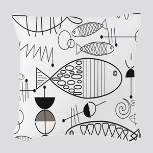 Mid-Century Fish Woven Throw Pillow