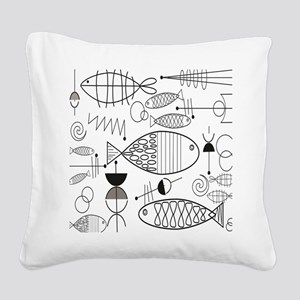 Mid-Century Fish Square Canvas Pillow
