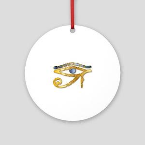 Eye Of Horus - Blue Gold 1 Round Ornament