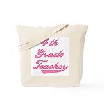 4th Grade Teacher Pink Text Tote Bag