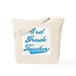 3rd Grade Teacher Blue Text Tote Bag