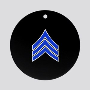 Police Sergeant (Blue) Round Ornament