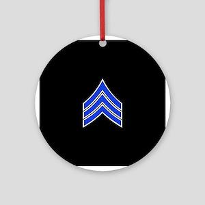 Police Sergeant (Blue) Round Ornament