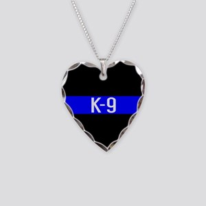 Police K-9 (Thin Blue Line) Necklace Heart Charm