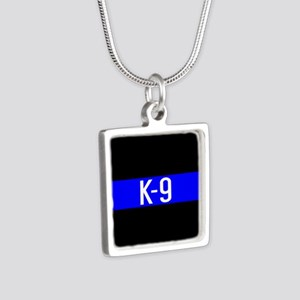 Police K-9 (Thin Blue Line Silver Square Necklace