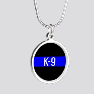 Police K-9 (Thin Blue Line) Silver Round Necklace