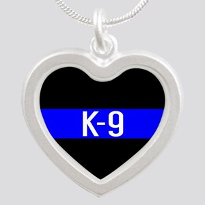Police K-9 (Thin Blue Line) Silver Heart Necklace