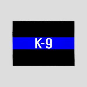 Police K-9 (Thin Blue Line) 5'x7'Area Rug