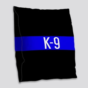 Police K-9 (Thin Blue Line) Burlap Throw Pillow
