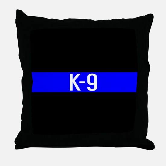Police K-9 (Thin Blue Line) Throw Pillow