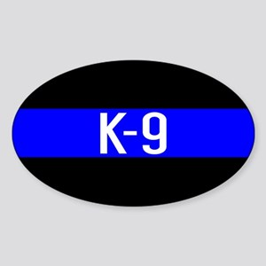 Police K-9 (Thin Blue Line) Sticker (Oval)