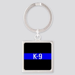 Police K-9 (Thin Blue Line) Square Keychain