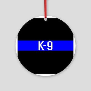 Police K-9 (Thin Blue Line) Round Ornament