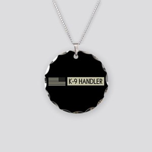 K-9 Handler (Black Flag) Necklace Circle Charm