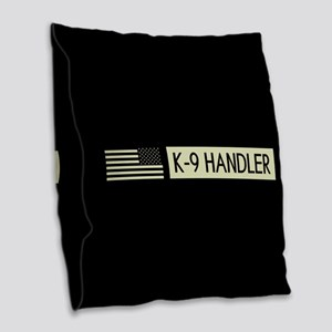 K-9 Handler (Black Flag) Burlap Throw Pillow