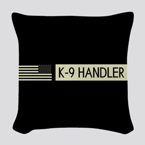 K-9 Handler (Black Flag) Woven Throw Pillow