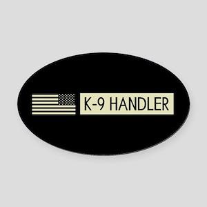 K-9 Handler (Black Flag) Oval Car Magnet