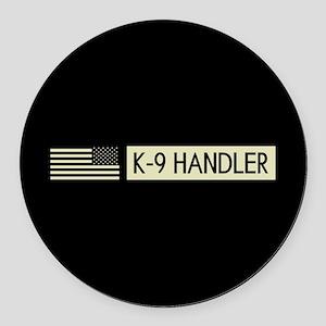 K-9 Handler (Black Flag) Round Car Magnet
