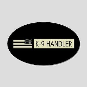 K-9 Handler (Black Flag) 20x12 Oval Wall Decal