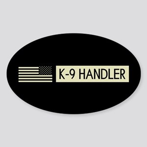 K-9 Handler (Black Flag) Sticker (Oval)