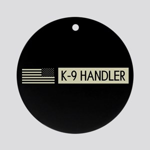 K-9 Handler (Black Flag) Round Ornament