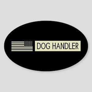 Dog Handler (Black Flag) Sticker (Oval)