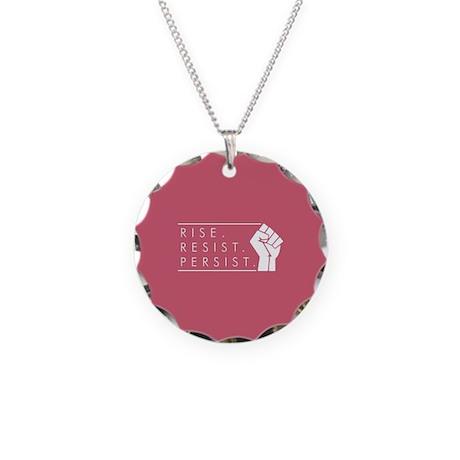 Rise. Resist. Persist. Necklace Circle Charm