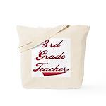 3rd Grade Teacher Red Text Tote Bag