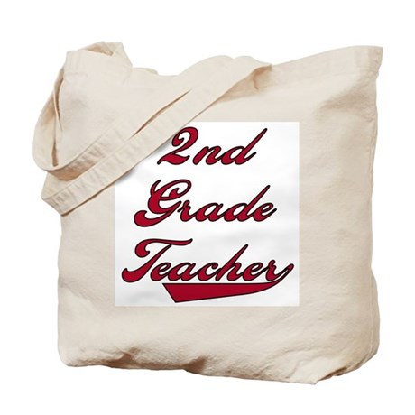 2nd Grade Teacher Red Text Tote Bag