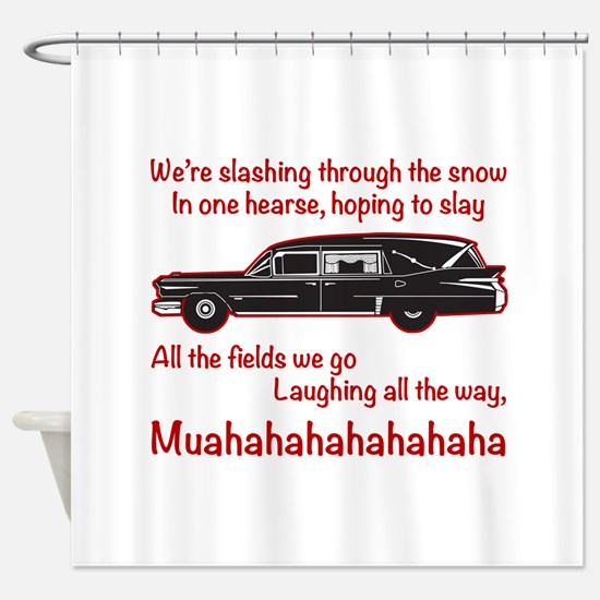 Jingle Hells Hearse Shower Curtain