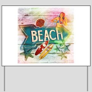 hawaii aloha beach surfer Yard Sign