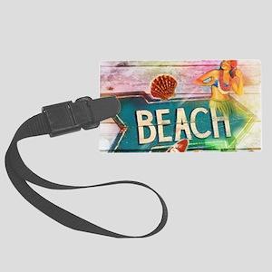 hawaii aloha beach surfer Large Luggage Tag