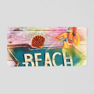 hawaii aloha beach surfer Aluminum License Plate