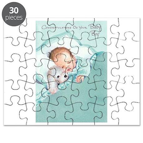 vintage retro congratulations new baby boy puzzle by admin_cp134303719