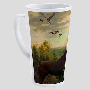 outdoors hunting pointer dog 17 oz Latte Mug