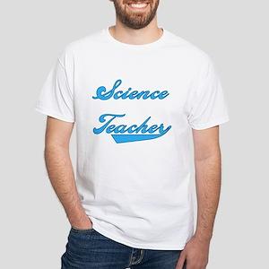Science Teacher Blue Text White T-Shirt