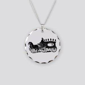 Black Victorian Hearse Necklace Circle Charm
