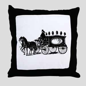 Black Victorian Hearse Throw Pillow