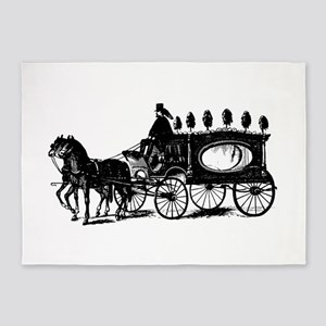 Black Victorian Hearse 5'x7'Area Rug