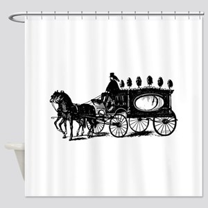 Black Victorian Hearse Shower Curtain
