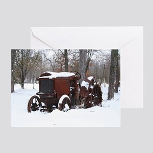 Vintage Tractor in the Snow Greeting Card