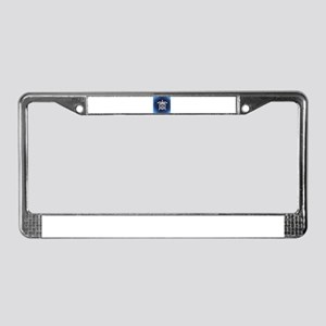 Navy & White Abstract Shel License Plate Frame